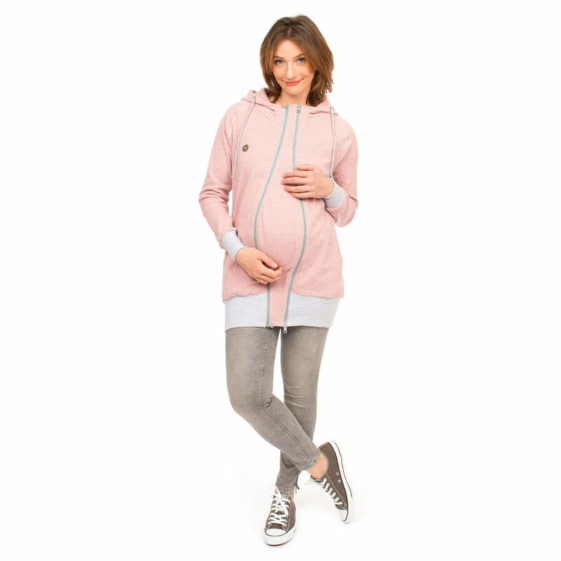 Babywearing Hoodie Summer Sweat CLEO in pink - pregnant model wears jacket with insert for pregnancy - front view