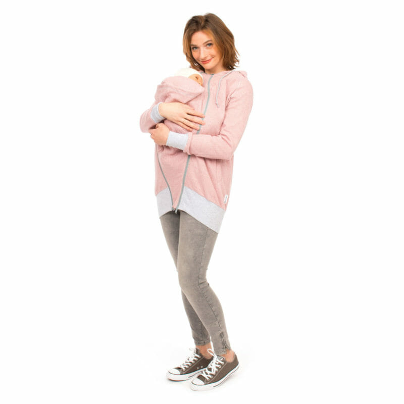 Babywearing Hoodie Summer Sweat CLEO in pink - babywearing model - full front view