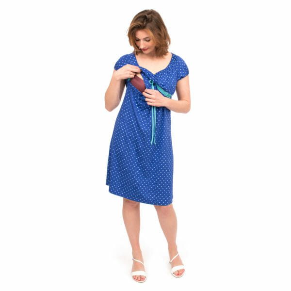 Empire waist maternity and nursing dress - ELLI in cobalt - model wears dress and shows breastfeeding access