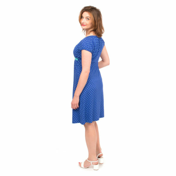 Empire waist maternity and nursing dress - ELLI in cobalt - model wears dress - view from back