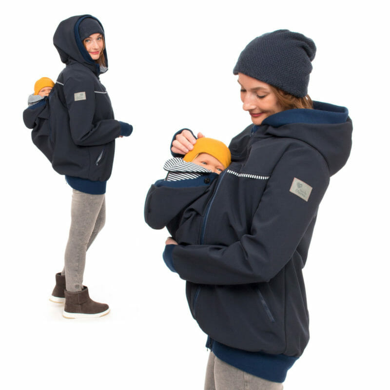This chic 4 in 1 babywearing coat is made of breathable allweather softshell in navy. The jacket comes with two easy to zip-in inserts. One to use as maternity jacket. The second insert is for front or back carrying your baby. Adjustable hoods, pockets and edgings have contrasting lining in blue-white stripes.  Popular features are long arms with warm ribbed cuffs and thumbholes as well as practical deep pockets with zipper.