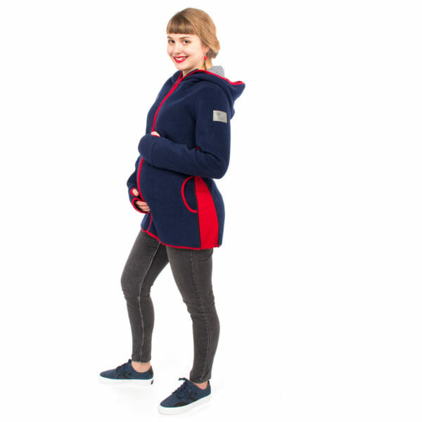 Babywearing jacket Janko in navy-red pregnant model