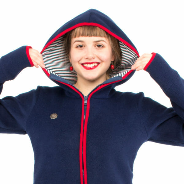 Babywearing jacket Janko in navy-red close up with hoodie