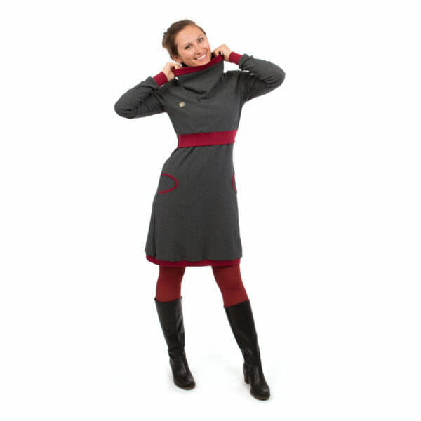 Maternity sweater dress and nursing dress NEELE in anthracite bordeaux - model wears dress with hands on shawl collar - front view