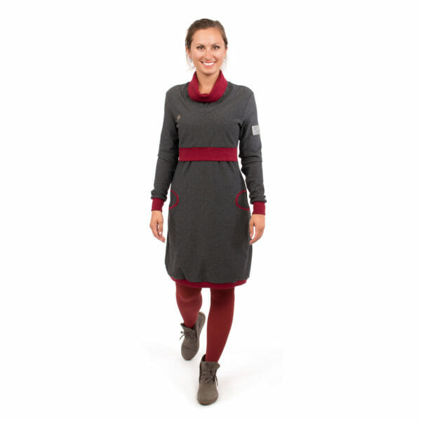 Maternity sweater dress and nursing dress NEELE in anthracite bordeaux - model wears dress - full front view