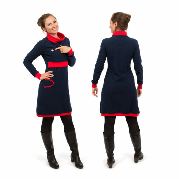 Maternity sweater dress and nursing dress NEELE in navy-red - model on left hand side wears dress and points to Viva la Mama logo - model on right hand side from back