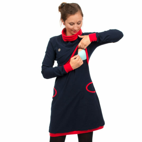Maternity sweater dress and nursing dress NEELE in navy-red - model shows breastfeeding access