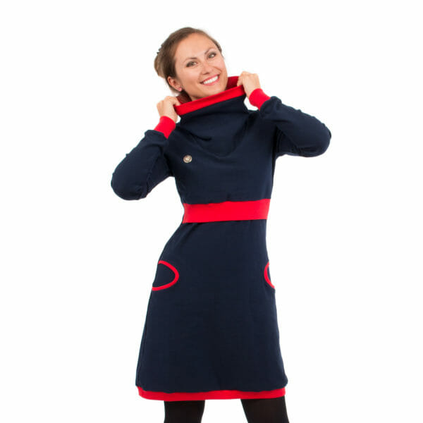Maternity sweater dress and nursing dress NEELE in navy-red - model wears dress and has hands on collar