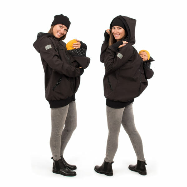 4in1 Babywearing coat softshell - AVENTURIS in black - Model left hand side is front babywearing and model on right hand side carries baby on her back