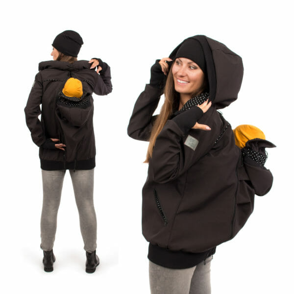 4in1 Babywearing coat softshell - AVENTURIS in black - model on left hand side carries baby on her back - full view from back and model on right hand side back carrying side view