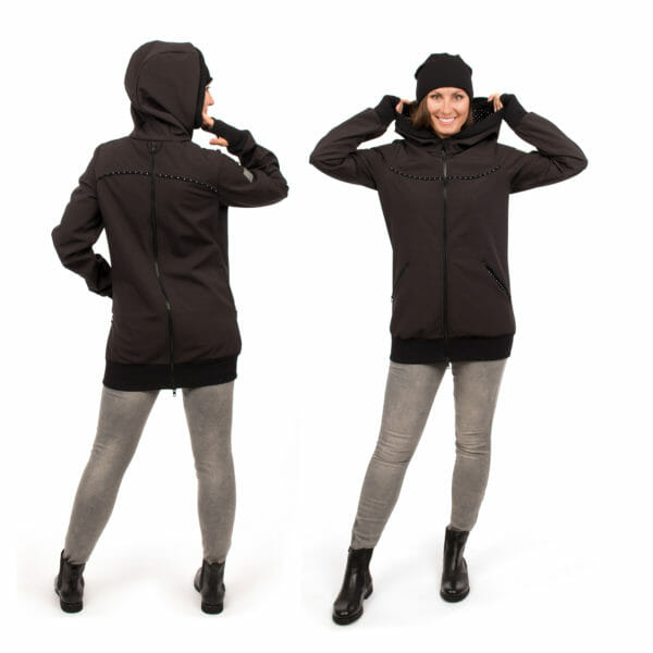 4in1 Babywearing coat softshell - AVENTURIS in black - Model on left hand side with hood full back view and model on right hand side wears jacket without inserts full front view