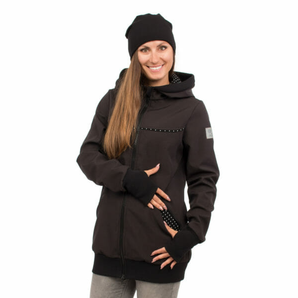 4in1 Babywearing coat softshell - AVENTURIS in black - model wears jacket without inserts and shows lining in pocket