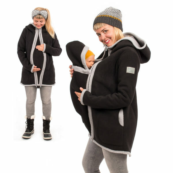 3in1 Maternity and babywearing winter coat fleece ARCTICA in black - pregnant model on left hand side wears coat with pregnancy insert and babywearing model on right hand side with inserted babywearing panel