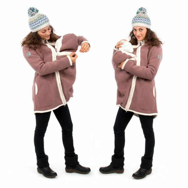 3in1 Maternity and babywearing winter coat fleece ARCTICA in cappuccino - babywearing model on left hand side adjusts width on insert for baby's neck and on right hand side with baby