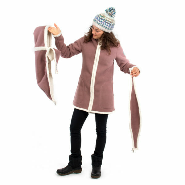 3in1 Maternity and babywearing winter coat fleece ARCTICA in cappuccino - model wears coat and shows inserts for pregnancy and babywearing