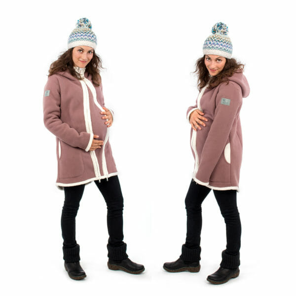3in1 Maternity and babywearing winter coat fleece ARCTICA in cappuccino - pregnant model on left hand side wears jacket with pregnancy insert and on right hand side without insert