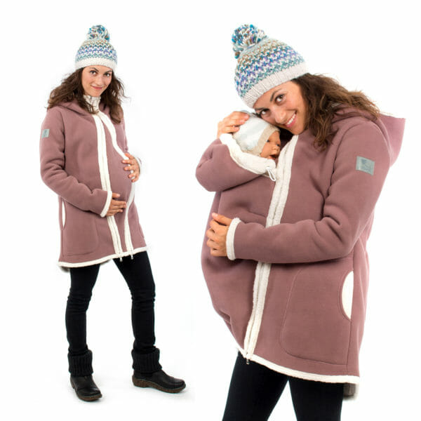 3in1 Maternity and babywearing winter coat fleece ARCTICA in cappuccino - pregnant model on left hand side wears coat with pregnancy insert and babywearing model on right hand side