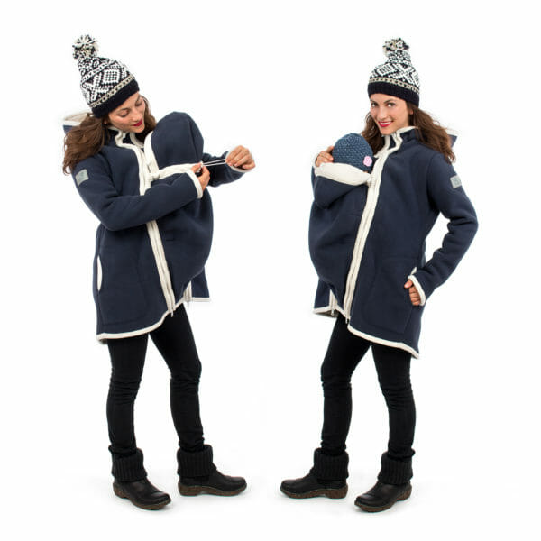 3in1 Maternity and babywearing winter coat fleece ARCTICA in navy - babywearing model on left hand side adjusts width on insert for baby's neck and on right hand side with baby in insert