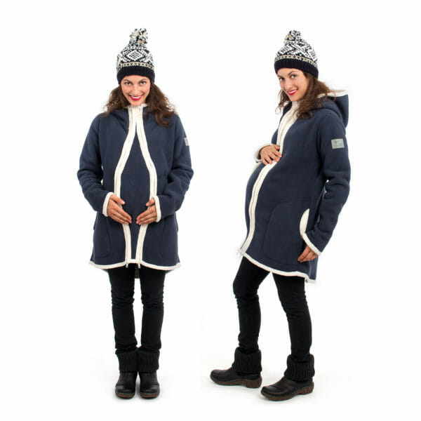 3in1 Maternity and babywearing winter coat fleece ARCTICA in navy - pregnant model on left hand side wears jacket with pregnancy insert and on right hand side without insert