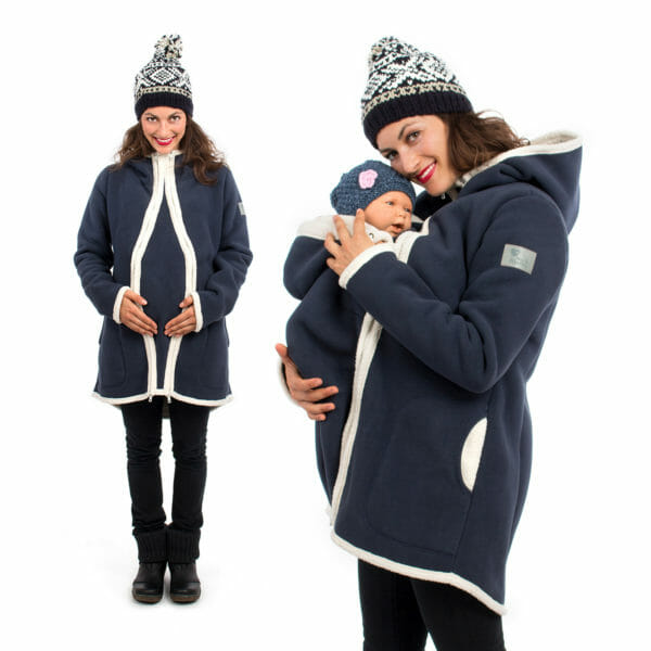 3in1 Maternity and babywearing winter coat fleece ARCTICA in navy - pregnant model wears coat with pregnancy insert on left hand side and on right hand side babywearing model