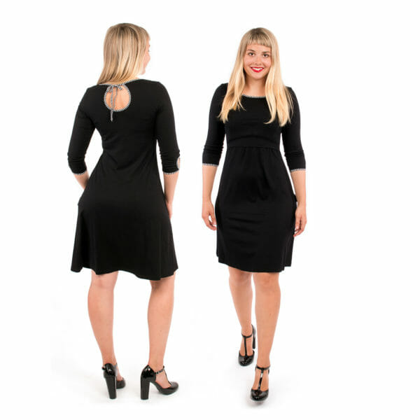 Maternity and nursing dress MILLA in black uni - model on left hand side from back and on right hand side front view