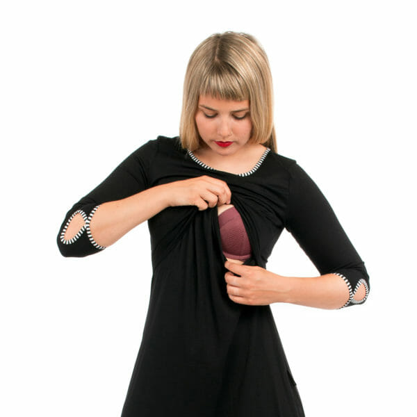 Maternity and nursing dress MILLA in black uni - model shows breastfeeding access