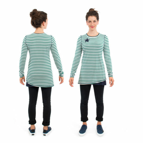 Maternity and nursing top VEGA in green - model on left hand side from back and on right hand side front view