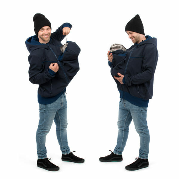 Mens baby carrier hoodie softshell EXPLORER in navy - babywearing model on left hand side adjusts baby's hood and happy babywearing model on right hand side