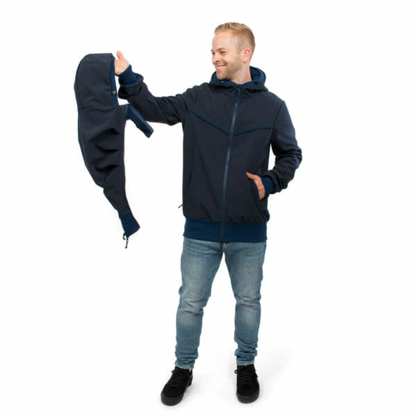 Mens baby carrier hoodie softshell EXPLORER in navy - model wears jacket and shows insert for babywearing