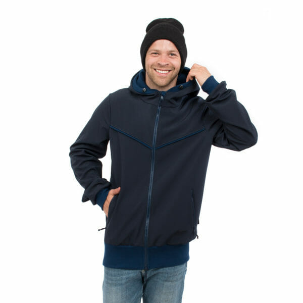 Mens baby carrier hoodie softshell EXPLORER in navy - model wears jacket - close up front view