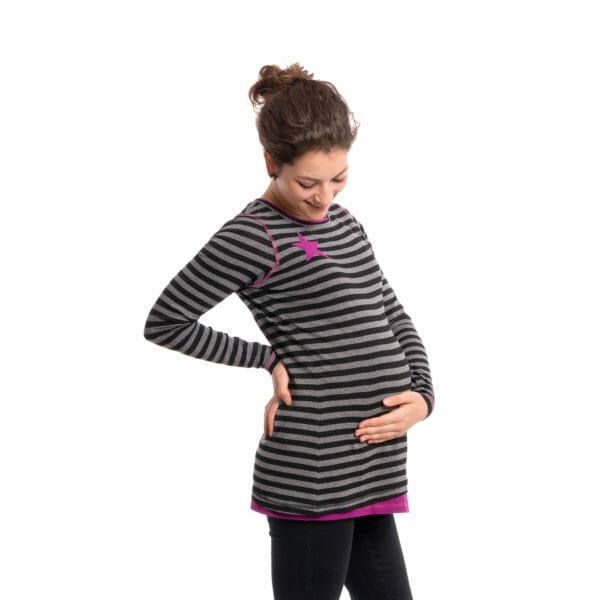 Maternity and nursing top VEGA in black-gray-purple - pregnant model wears top and has hand under her baby bump