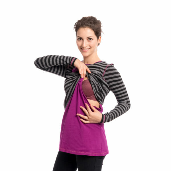 Maternity and nursing top VEGA in black-gray-purple - model shows breastfeeding access in shirt