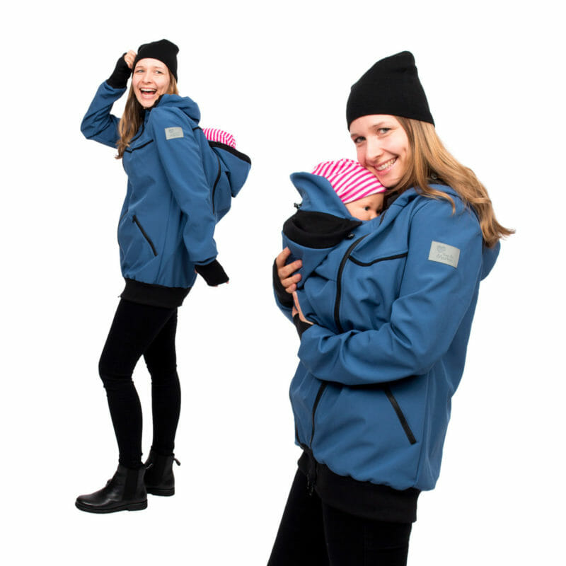 4 in 1 babywearing coat made of breathable allweather softshell in azure. The jacket comes with two easy to zip-in inserts to use as maternity jacket and for front or back carrying your baby. With adjustable and lined hoods, deep pockets with zipper and contrasting edgings. The arms are long with warm ribbed cuffs and thumbholes. The babywearing insert design allows to be wrapped around baby and can be worn open or closed with buttons. Flexibel and more freedom of movement for your baby.