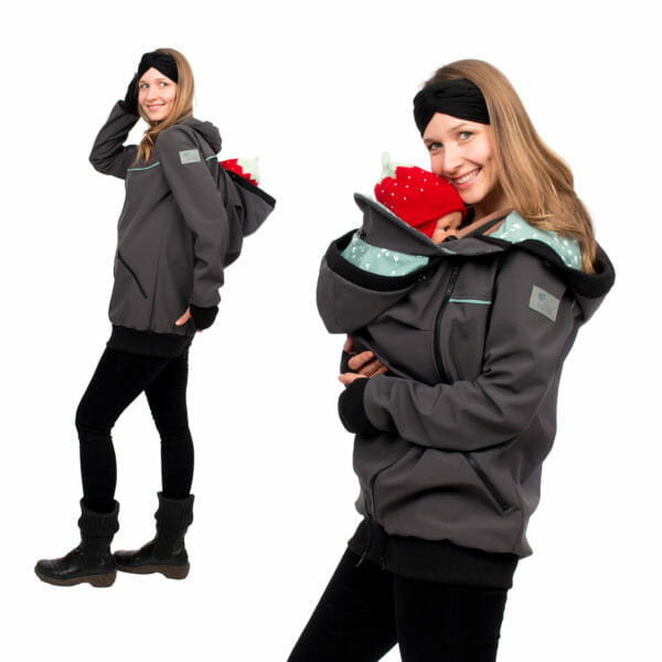 4in1 babywearing coat softshell AVENTURIS in gray-mint - model on left hand side wears baby with insert on her back and on right hand side at her front with babywearing insert