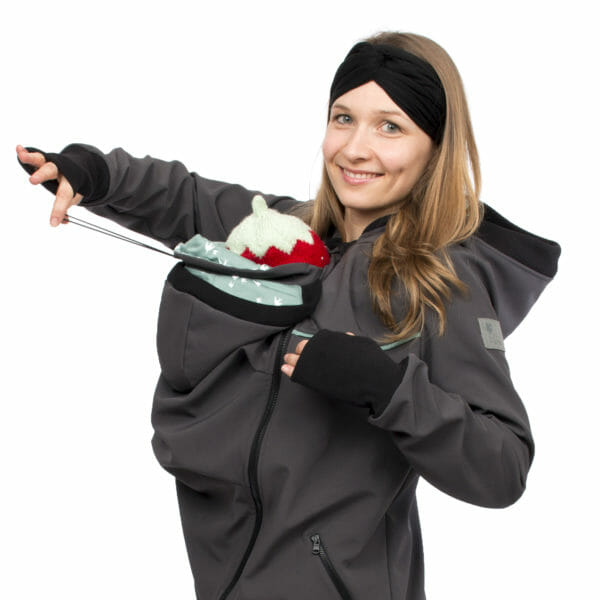 4in1 babywearing coat softshell AVENTURIS in gray-mint - babywearing model shows cords which adjust width at baby's neck protection - side view