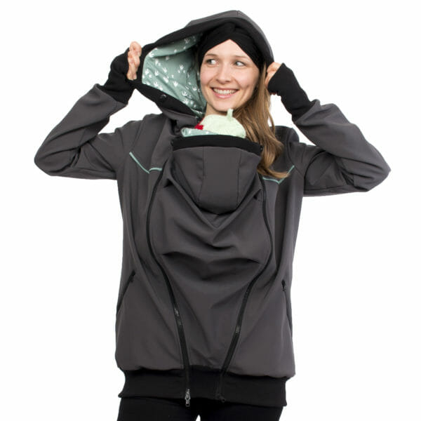 4in1 babywearing coat softshell AVENTURIS in gray-mint - babywearing model shows lining in hood - front view