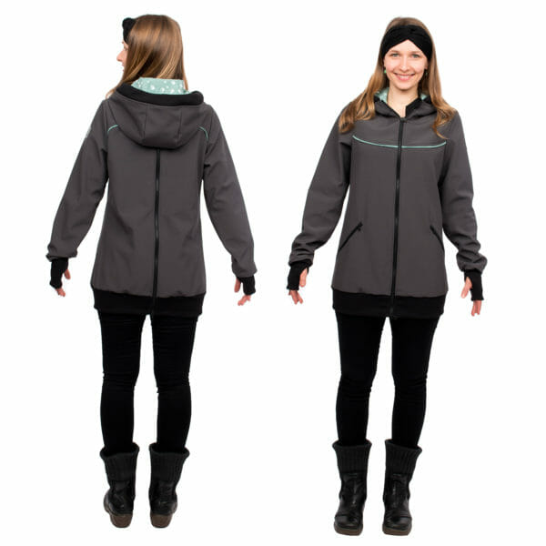 4in1 babywearing coat softshell AVENTURIS in gray-mint - model wears coat view from back on left hand side and front view on right hand side