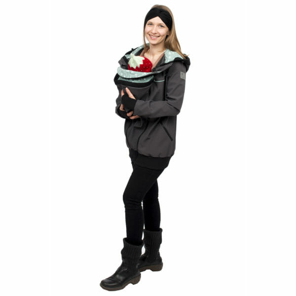 4in1 babywearing coat softshell AVENTURIS in gray-mint - babywearing model with hands around baby - front view