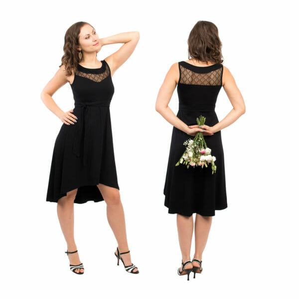 Maternity and nursing cocktail dress - ALMA in black with lace - model on left hand side in front view and on right hand side with bunch of flowers in hands behind back - view from back