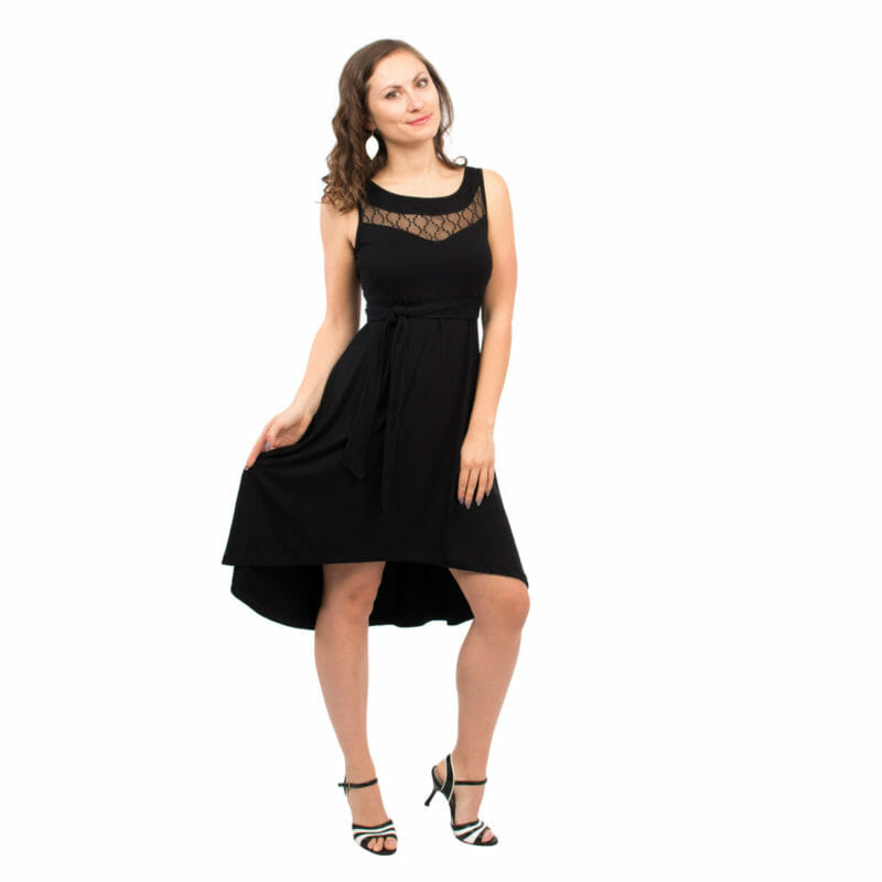 8f15e4d0b31 Maternity and nursing cocktail dress ALMA in black with lace - model wears  dress and swings