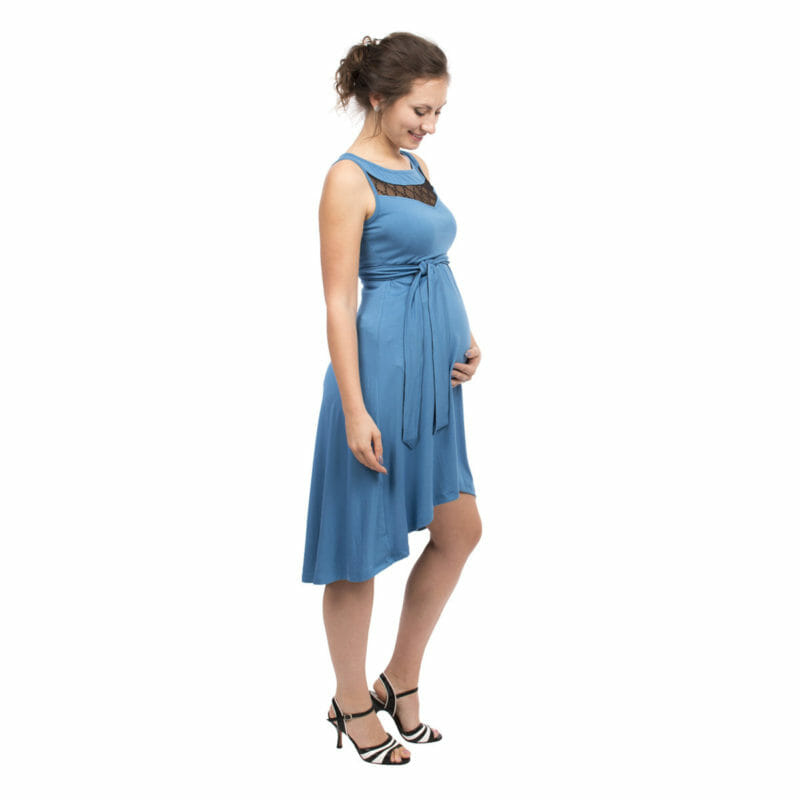 0817fb4ac2 Maternity and nursing cocktail dress ALMA in blue with black lace - pregnant  model with hand