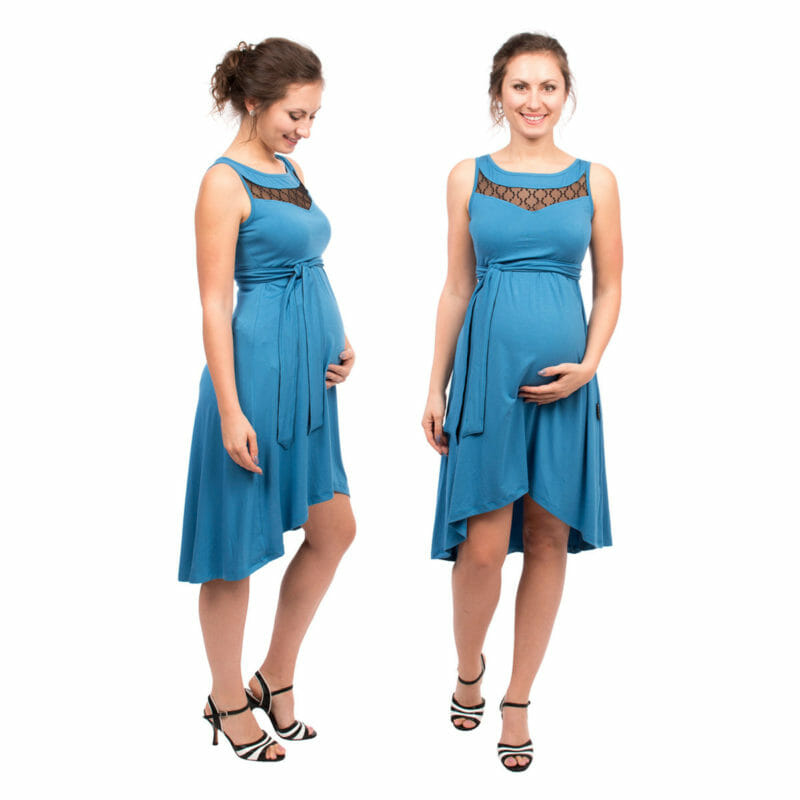 Beautiful maternity and nursing cocktail dress in blue with black lace inset. Perfect dress when you are invited at a wedding, christening or any other more formal occasion. The dress is sleeveless with lace inset at top and back. The skirt ends above knee and is longer at back. Comes with belt which has lace on one side so that you can choose which side to show. Invisible nursing access. Very comfortable and stylish occasion wear.