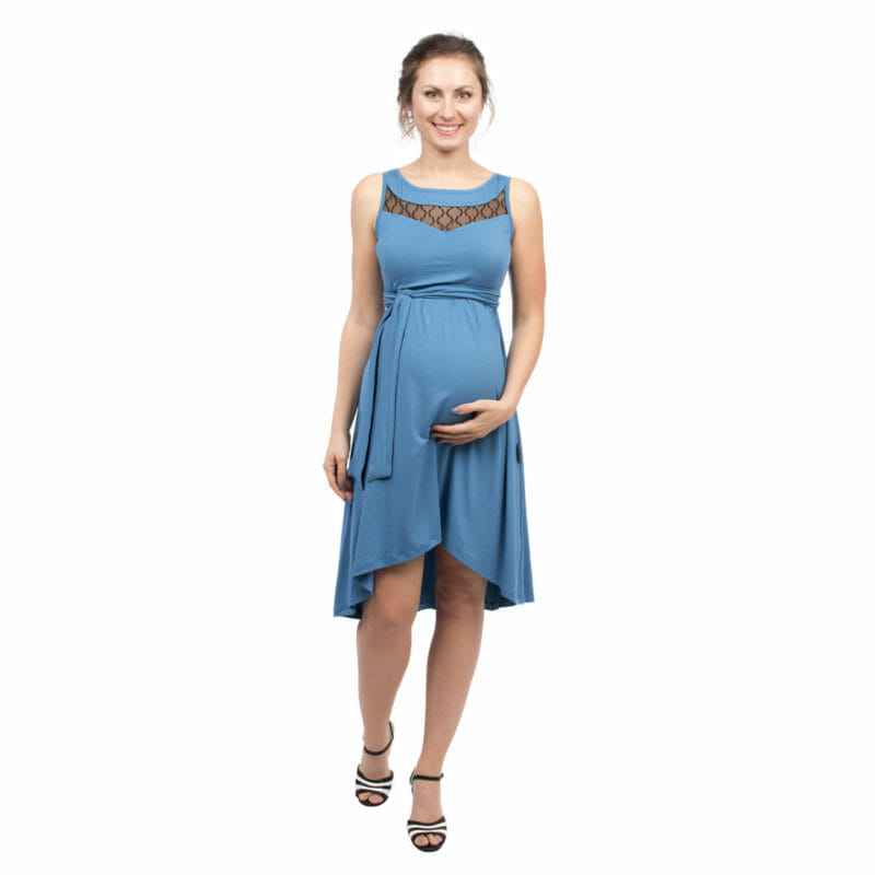 280bc195cb5 Maternity and nursing cocktail dress ALMA in blue with black lace -  pregnant model with hand