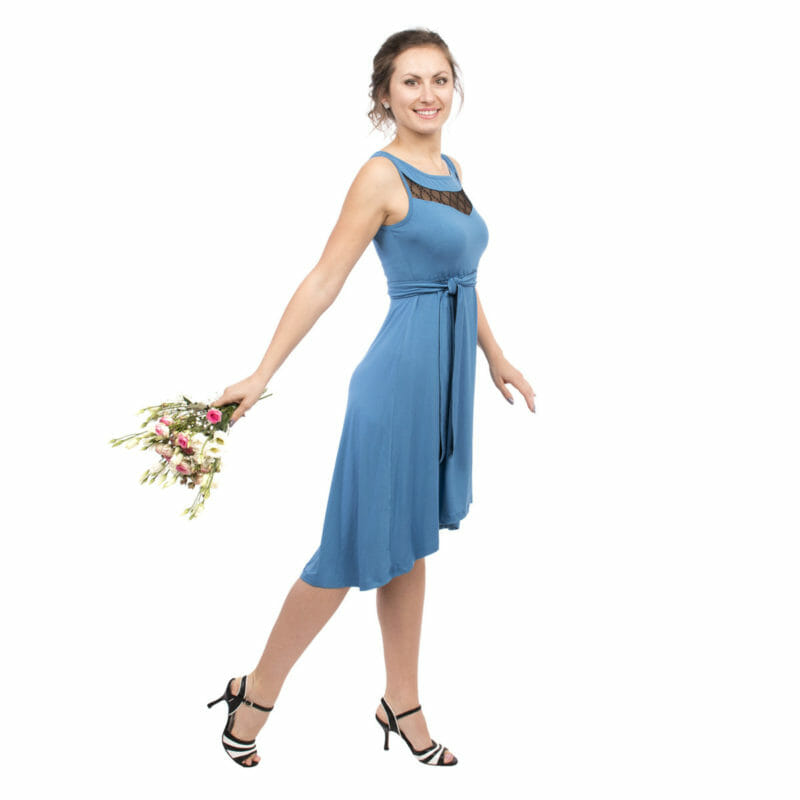 556f13a4bd Maternity and nursing cocktail dress ALMA in blue with black lace - model  wears dress and