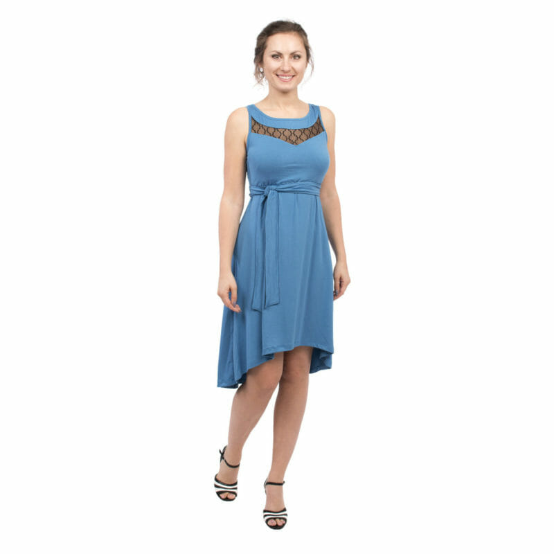 1389f7a2fe7 Maternity and nursing cocktail dress ALMA in blue with black lace - model  wears dress -