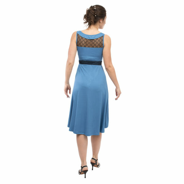 Maternity and nursing cocktail dress ALMA in blue with black lace - model wears dress - view from back