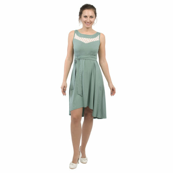 Maternity and nursing cocktail dress ALMA in mint with white lace - model wears dress - view from front