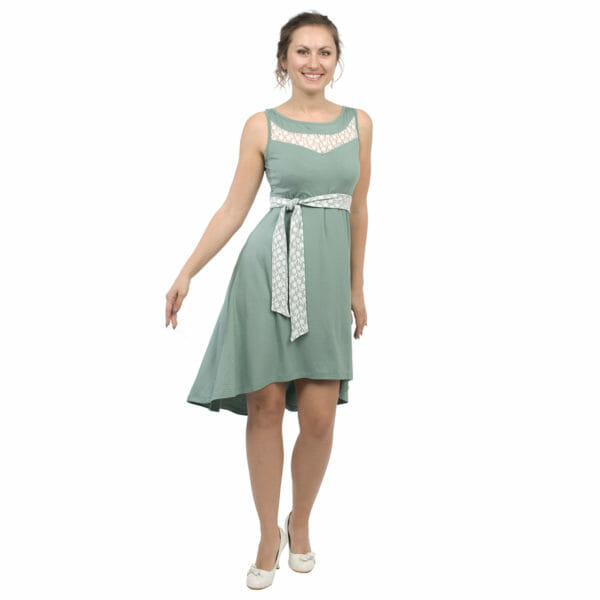 Maternity and nursing cocktail dress ALMA in mint with white lace - model wears dress with belt showing lace side - view from front