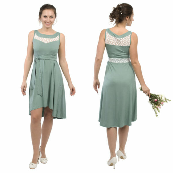 Maternity and nursing cocktail dress ALMA in mint with white lace - model on left hand side from front and on right hand side with bunch of flowers in her right hand - view from back