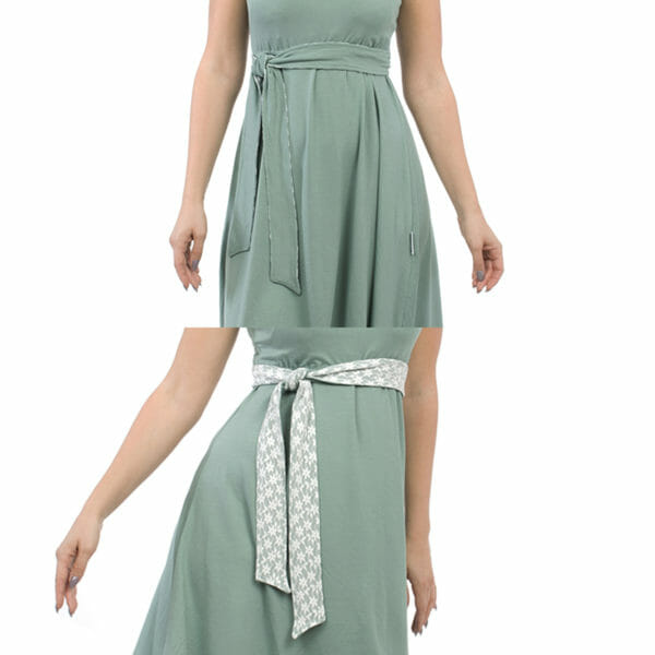 Maternity and nursing cocktail dress ALMA in mint with white lace - top photo belt with mint fabric on top and bottom photo belt with lace on top